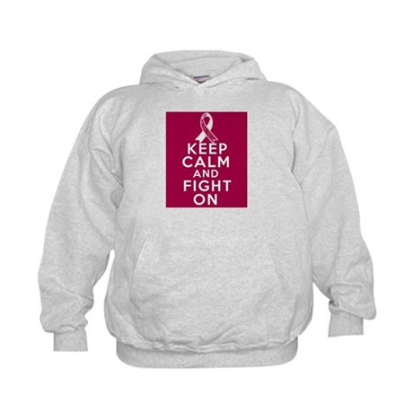 Throat Cancer Keep Calm Fight On Kids Hoodie