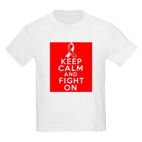 Oral Cancer Keep Calm Fight On Kids Light T-Shirt