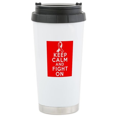 Oral Cancer Keep Calm Fight On Ceramic Travel Mug