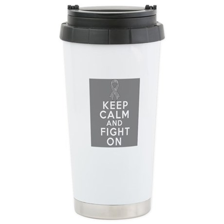 Brain Cancer Keep Calm Fight On Ceramic Travel Mug