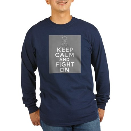 Brain Cancer Keep Calm Fight On Long Sleeve Dark T