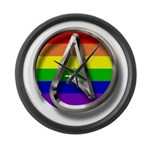 LGBT Atheist Symbol Large Wall Clock