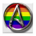 LGBT Atheist Symbol Tile Coaster