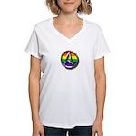 LGBT Atheist Symbol Women's V-Neck T-Shirt