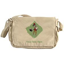 Golf Lady with Custom Text. Messenger Bag