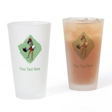 Golf Lady with Custom Text. Drinking Glass