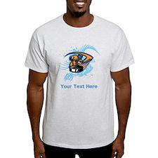 Ice Hockey. Custom Blue Text. T-Shirt