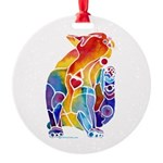 LOVE CAT Bright Colors Round Ornament