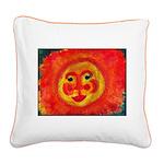 Sun Face Square Canvas Pillow