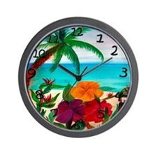 Tropical Floral Beach Wall Clock