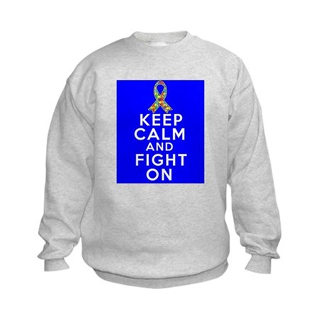 Autism Keep Calm and Fight On Kids Sweatshirt
