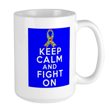 Autism Keep Calm and Fight On Large Mug
