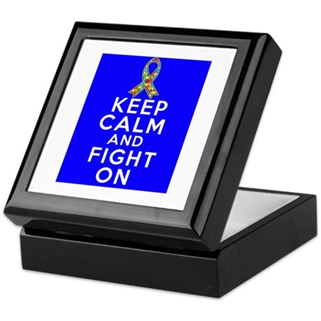 Autism Keep Calm and Fight On Keepsake Box
