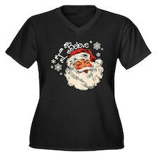I believe in Santa Women's Plus Size V-Neck Dark T