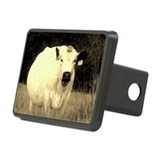 British White Cow at Pasture Rectangular Hitch Cov