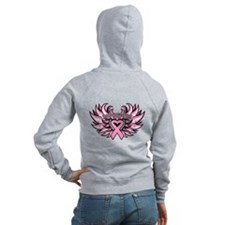 Breast Cancer Heart Wings Zip Hoodie
