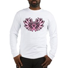 Breast Cancer Heart Wings Long Sleeve T-Shirt