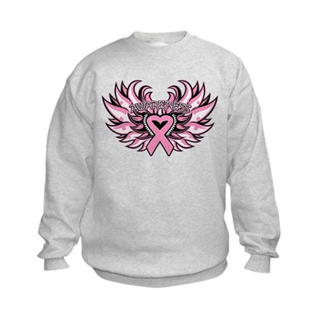 Breast Cancer Heart Wings Kids Sweatshirt