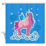 Little Pink Unicorn Shower Curtain