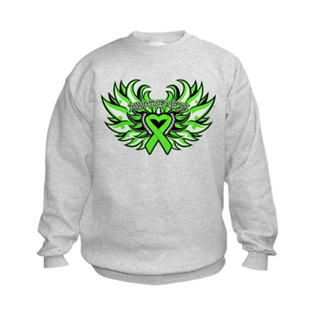 Lymphoma Heart Wings Kids Sweatshirt
