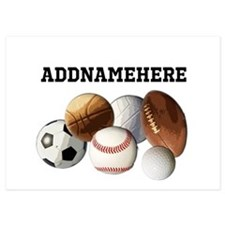 Sports Balls, Custom Name Invitations