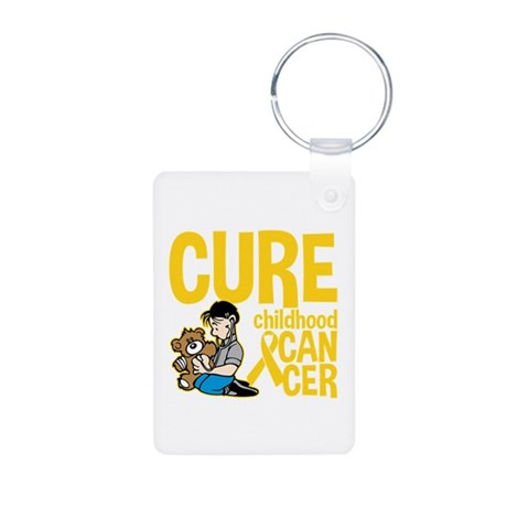 Cure Childhood Cancer Bear Aluminum Photo Keychain