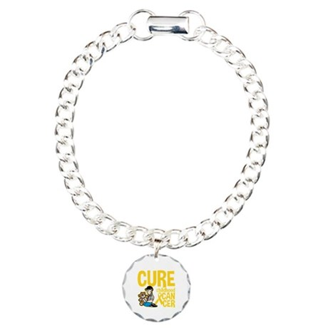 Cure Childhood Cancer Bear Charm Bracelet, One Cha