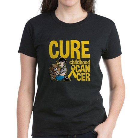 Cure Childhood Cancer Bear Women's Dark T-Shirt