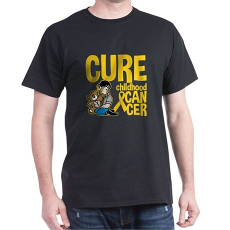Cure Childhood Cancer Bear Dark T-Shirt