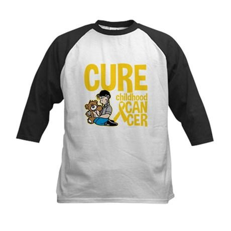 Cure Childhood Cancer Bear Kids Baseball Jersey