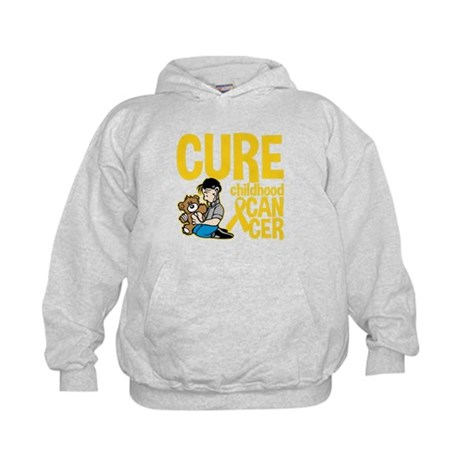 Cure Childhood Cancer Bear Kids Hoodie