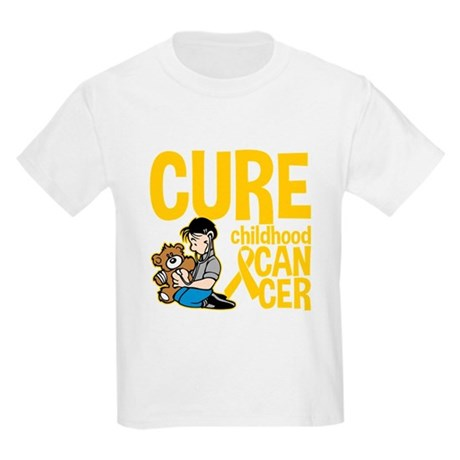 Cure Childhood Cancer Bear Kids Light T-Shirt