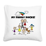 FAMILY STICK FIGURES Square Canvas Pillow