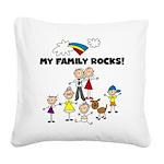 FAMILY STICK FIGURES Square Canvas Pillow