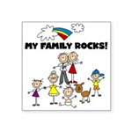 FAMILY STICK FIGURES Square Sticker 3&Quot; X 3&Qu
