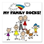 FAMILY STICK FIGURES Square Car Magnet 3