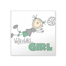 "VOLLEYBALLGIRLTEE.png Square Sticker 3"" x 3"""