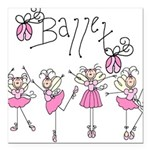 PINKBALLETLOVE.png Square Car Magnet 3