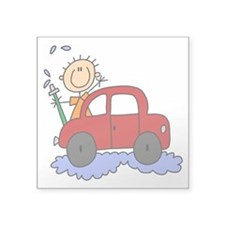 "malewashingcar.png Square Sticker 3"" x 3"""
