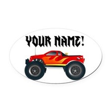 Red Monster Truck Personalized Oval Car Magnet