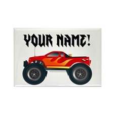 Red Monster Truck Personalized Rectangle Magnet