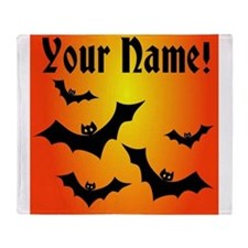 Personalized Halloween Bats Throw Blanket