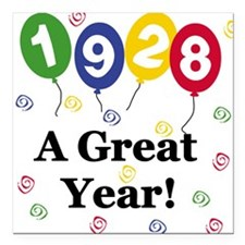 "1928birthdayballoons.png Square Car Magnet 3"" x 3"""