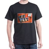 Key West Florida Greetings (Front) Black T-Shirt