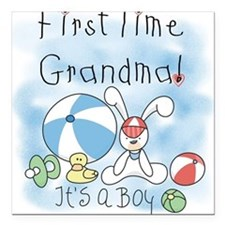 "FIRSTTIMEGMABEACHBALL.png Square Car Magnet 3"" x 3"