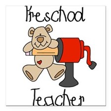 "sharppreschoolteach.png Square Car Magnet 3"" x 3"""