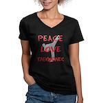 Peace Love Taekwondo Women's V-Neck Dark T-Shirt
