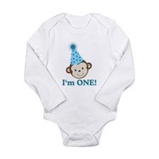 Im ONE Boy Monkey Long Sleeve Infant Bodysuit