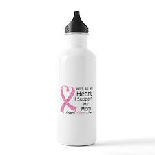 Heart Mom Breast Cancer Water Bottle