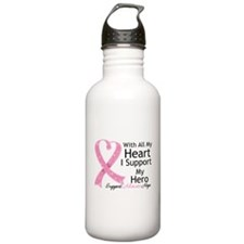 Heart Hero Breast Cancer Water Bottle